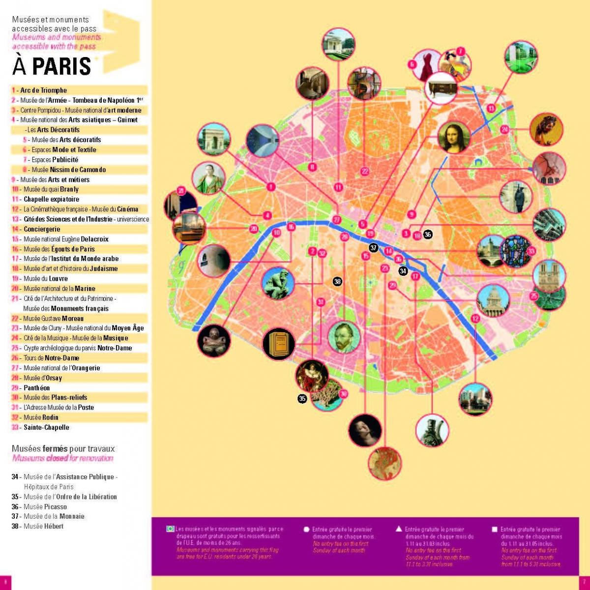 Mapa Paris museum pass
